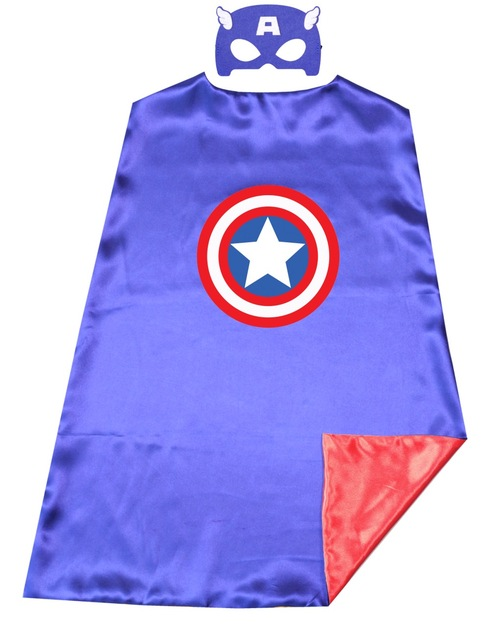 captain america avengers superhero kids cape mask costume 2 colors