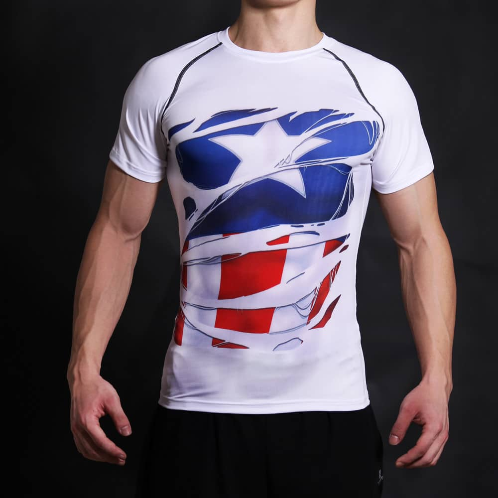 Captain America 3d Printed Crossfit T Shirt Black And White Color